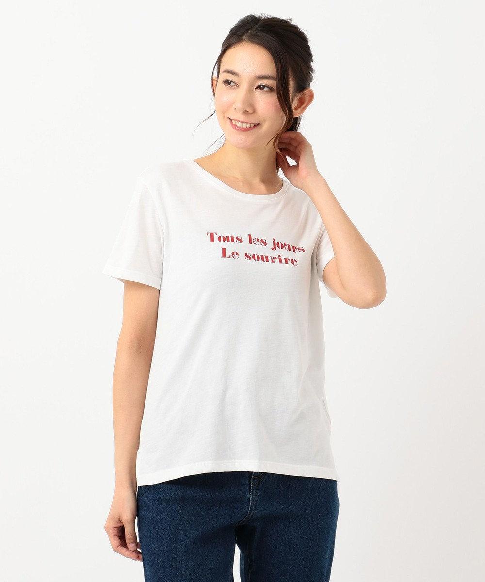 any SiS ロゴプリント Tシャツ ホワイト×レッド
