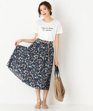 any SiS ロゴプリント Tシャツ ホワイト×ネイビー