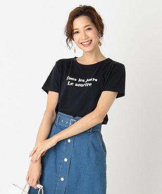 any SiS ロゴプリント Tシャツ ネイビー×ホワイト