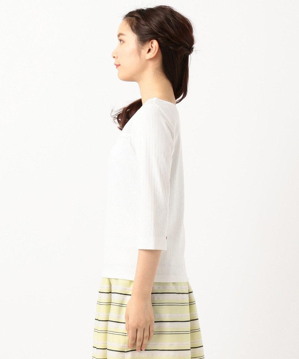 any SiS 【洗える】シアーレースワイドリブ カットソー ホワイト系