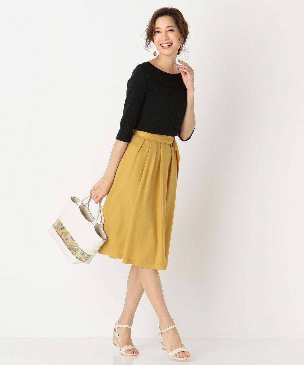 any SiS 【洗える】シアーレースワイドリブ カットソー ブラック系