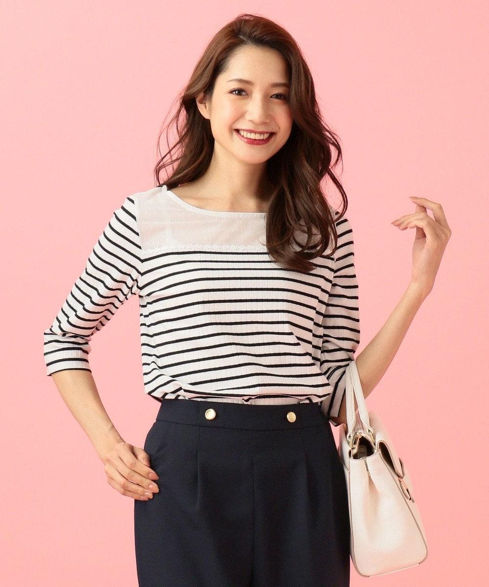 any SiS 【洗える】シアーレースワイドリブ カットソー ホワイト系1