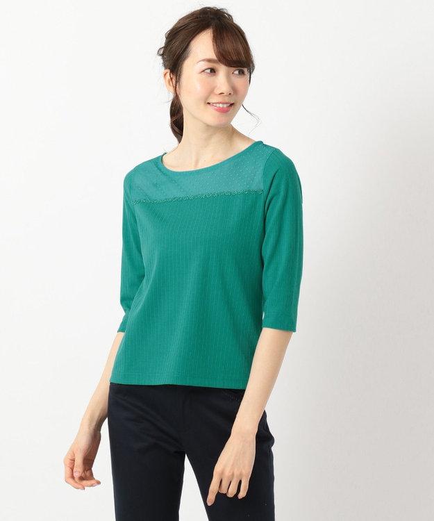 any SiS 【洗える】シアーレースワイドリブ カットソー