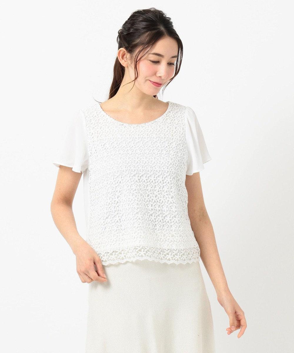 any SiS 【洗える】フェミニンレース ブラウス ホワイト系