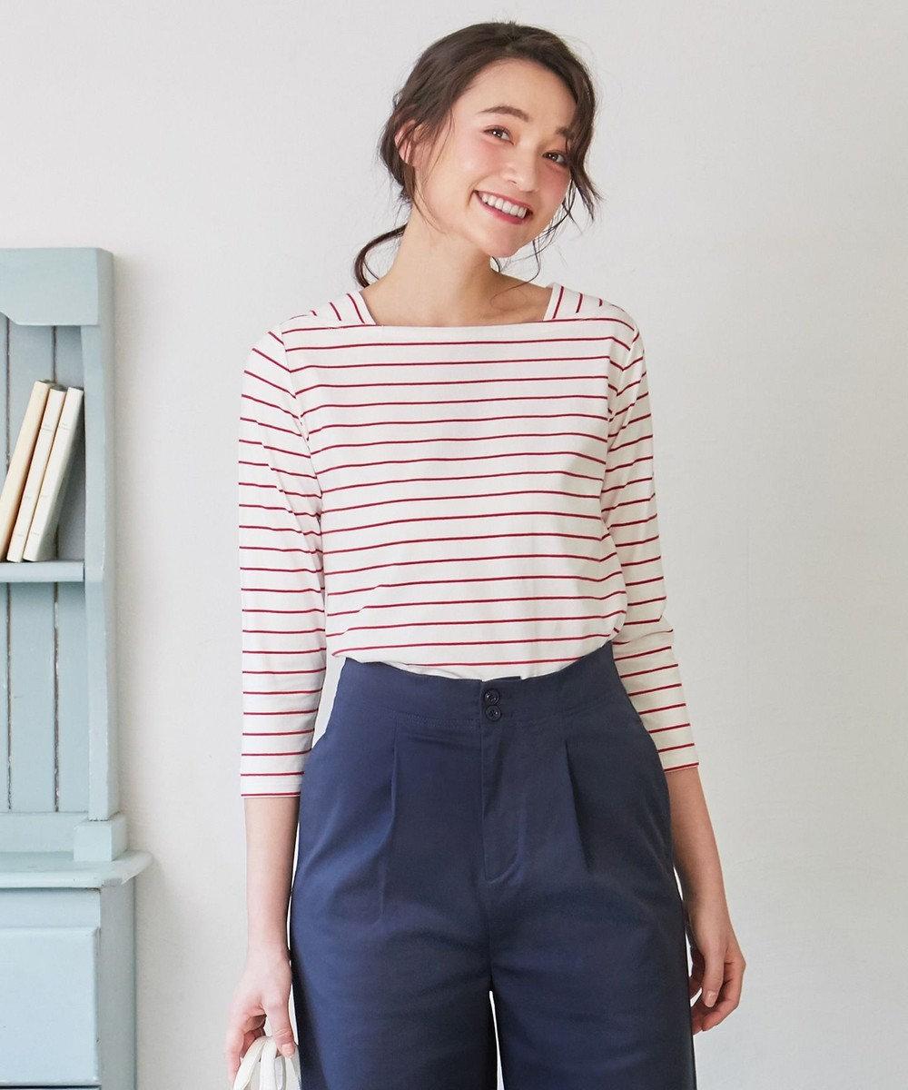 any SiS L 【UV・防シワ】L'aube フレンチボーダー Tシャツ(八分袖) レッド系1