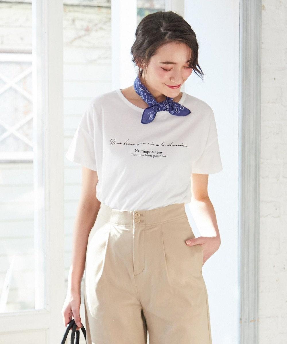 any SiS L L'aube ボートネック ロゴTシャツ ホワイト系
