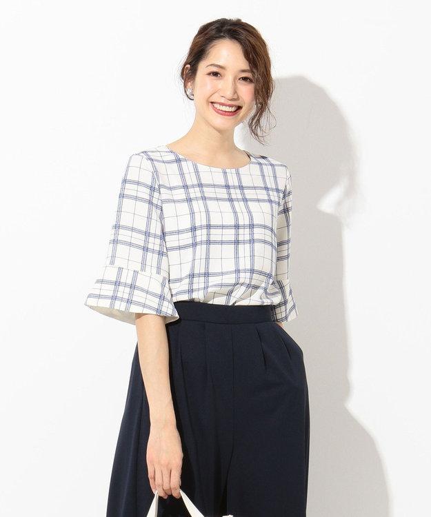 any SiS L 【洗える】フレアースリーブチェック ブラウス