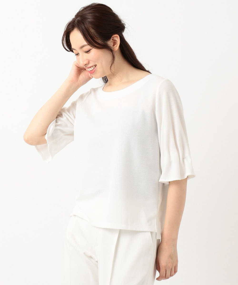 any SiS L 【洗える】タックスリーブ プルオーバー Tシャツ ネイビー系