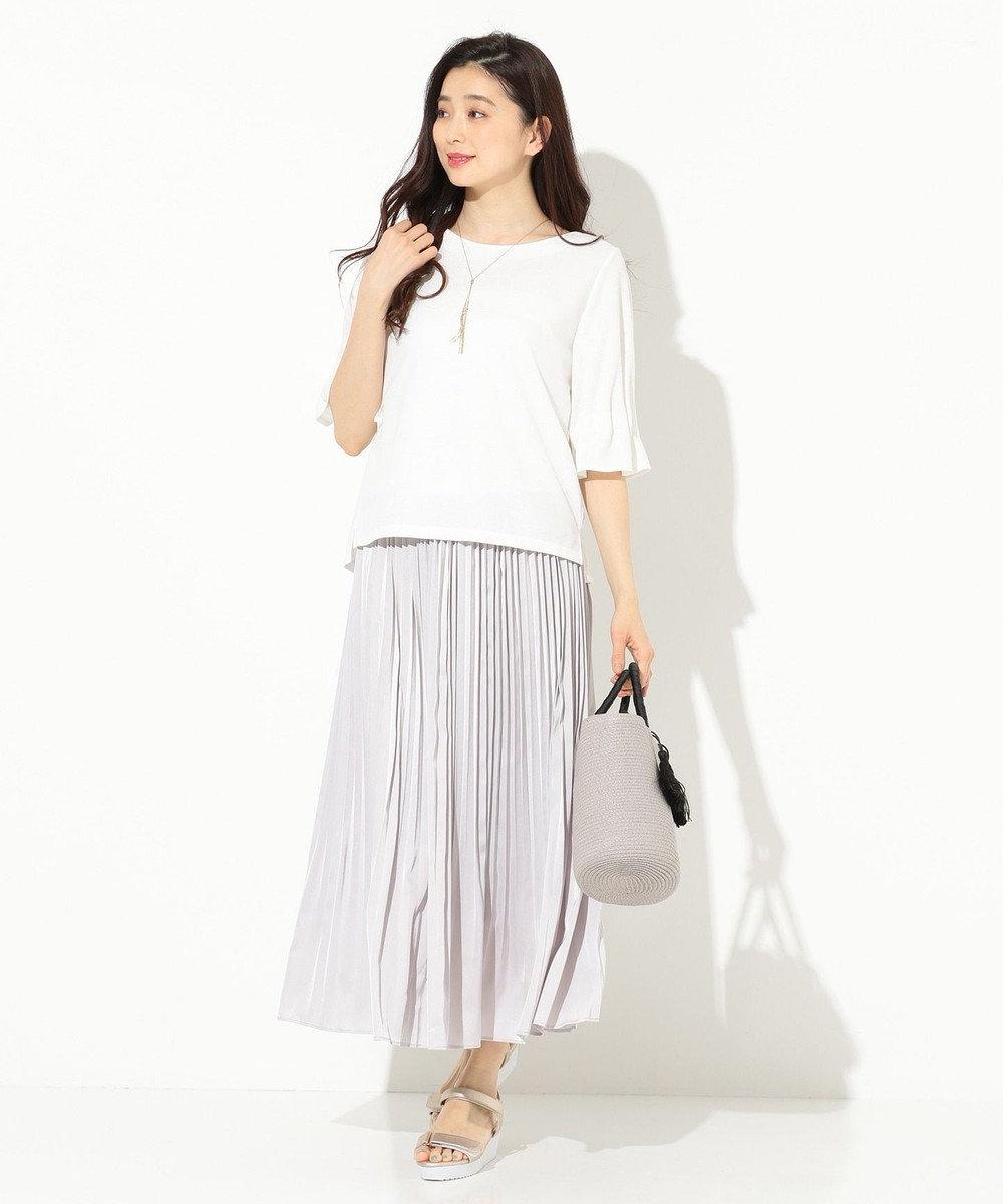 any SiS 【洗える】タックスリーブ プルオーバー Tシャツ ホワイト系