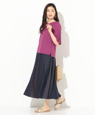 any SiS L 【洗える】タックスリーブ プルオーバー Tシャツ ライラック系
