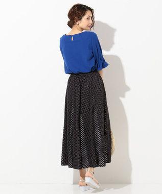 any SiS L 【洗える】タックスリーブ プルオーバー Tシャツ ブルー系