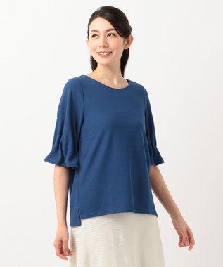 any SiS 【洗える】タックスリーブ プルオーバー Tシャツ ブルー系