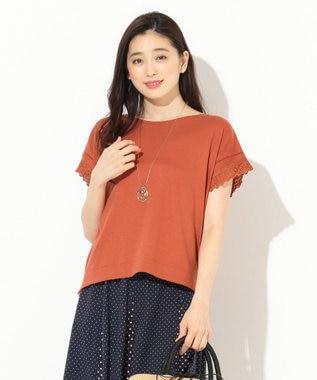 any SiS 【洗える】シルケットジャージーレーシースリーブ カットソー オレンジ系