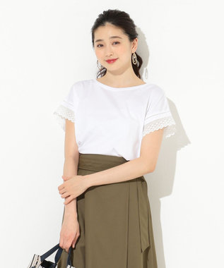 any SiS 【洗える】シルケットジャージーレーシースリーブ カットソー ホワイト系