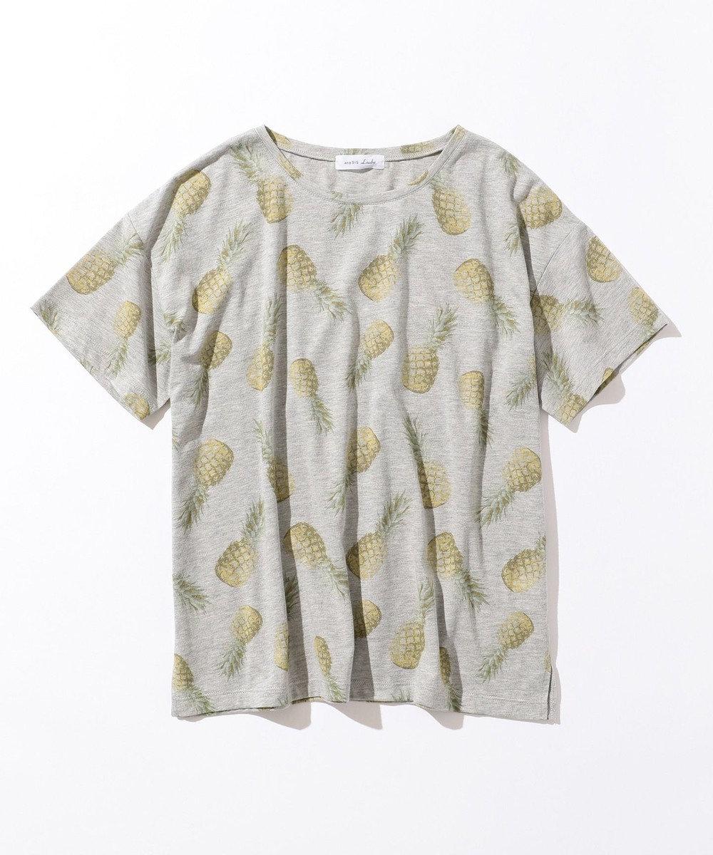 any SiS L 【L'aube】パイナップルプリント Tシャツ ライトグレー系