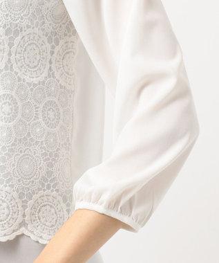 any SiS L 【洗える】レイヤードレース ブラウス ホワイト系