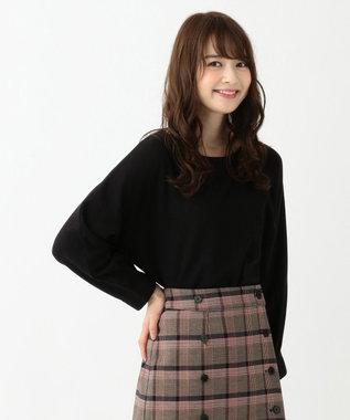 any SiS S 【洗える】ドルマンスリーブ 8分袖 トップス ブラック