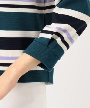 any SiS L 【洗える】リップルボーダー プルオーバー ブルーグリーン系