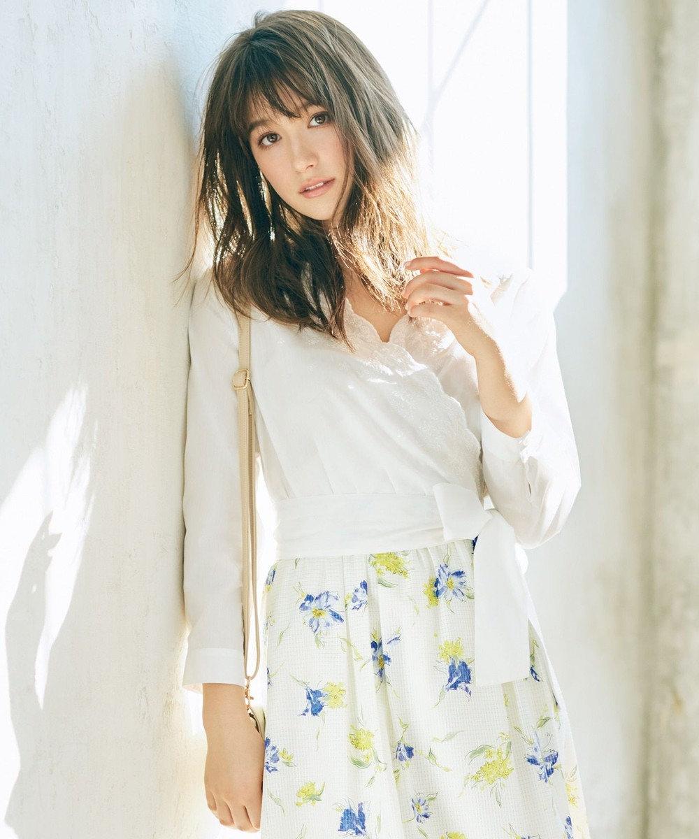 any SiS 【洗える】エンブロイダリーカシュ ブラウス ホワイト系