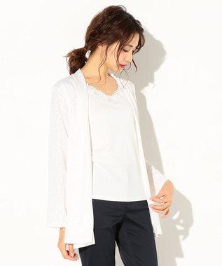 any SiS 【洗える】接結ジャカード カーディガン ホワイト系