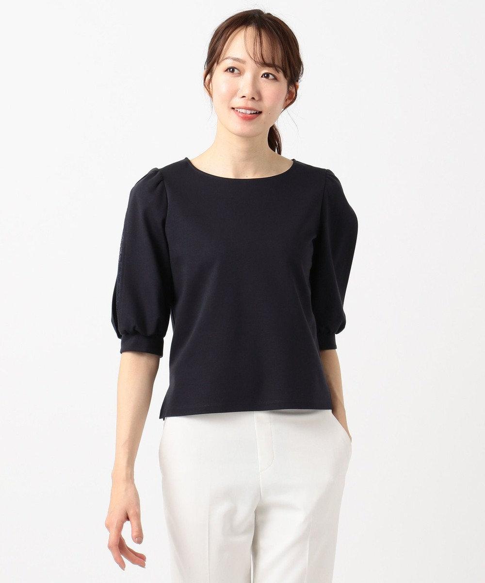 組曲 L 【人気商品の新作入荷!】シルケットポンチ 袖スリットカットソー ネイビー系