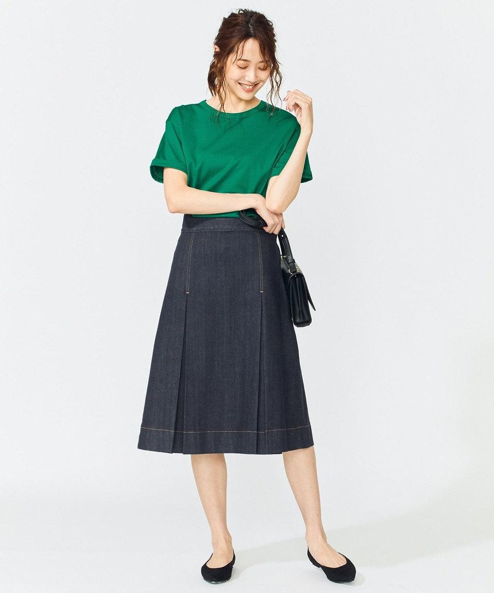 組曲 L 【WEB限定】コットン天竺 ロゴ入り カットソー グリーン系
