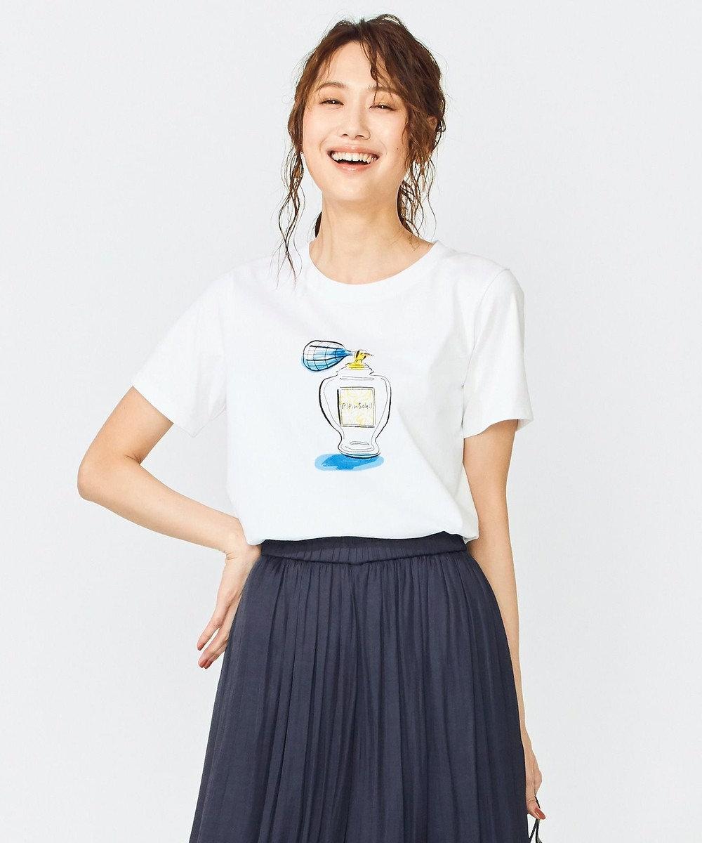 組曲 S 【洗える】組曲×佐伯ゆう子氏 アーティストコラボTシャツ ホワイト系
