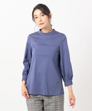 組曲 【洗える】ライクアウーヴン ハイネックカットソー ブルー系