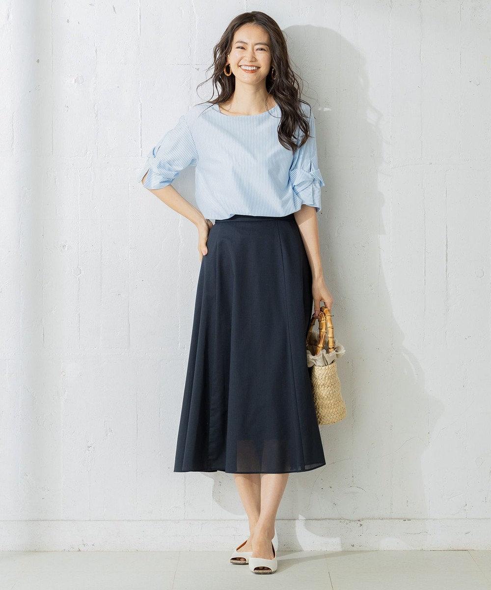 組曲 【WEB限定】ハイゲージストライプ カットソー ブルー系1