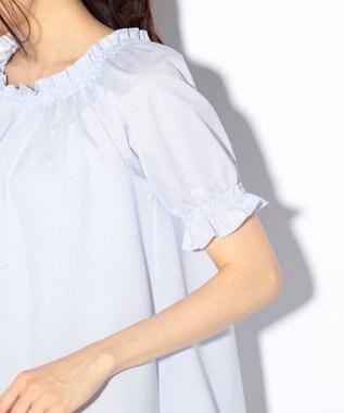 組曲 【一部店舗・WEB限定/洗える】コットンストライプジャガード カットソー サックスブルー系1