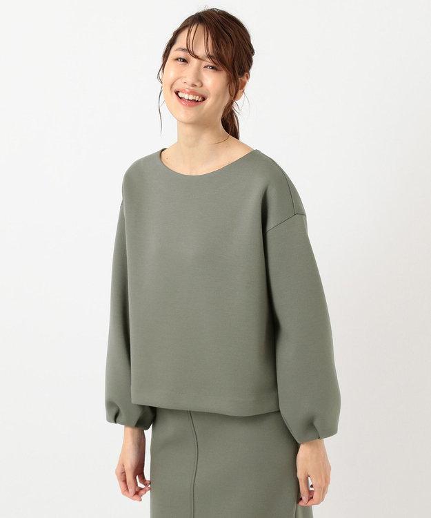 組曲 L 【洗える】カルゼダンボール パフスリーブ カットソー カーキ系