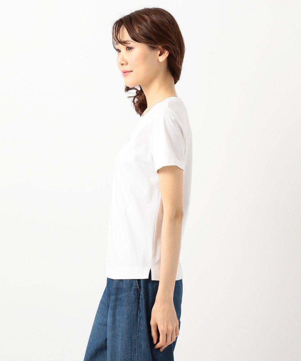組曲 S 【洗える】ハイゲージスムース コンパクト刺繍Tシャツ ホワイト系