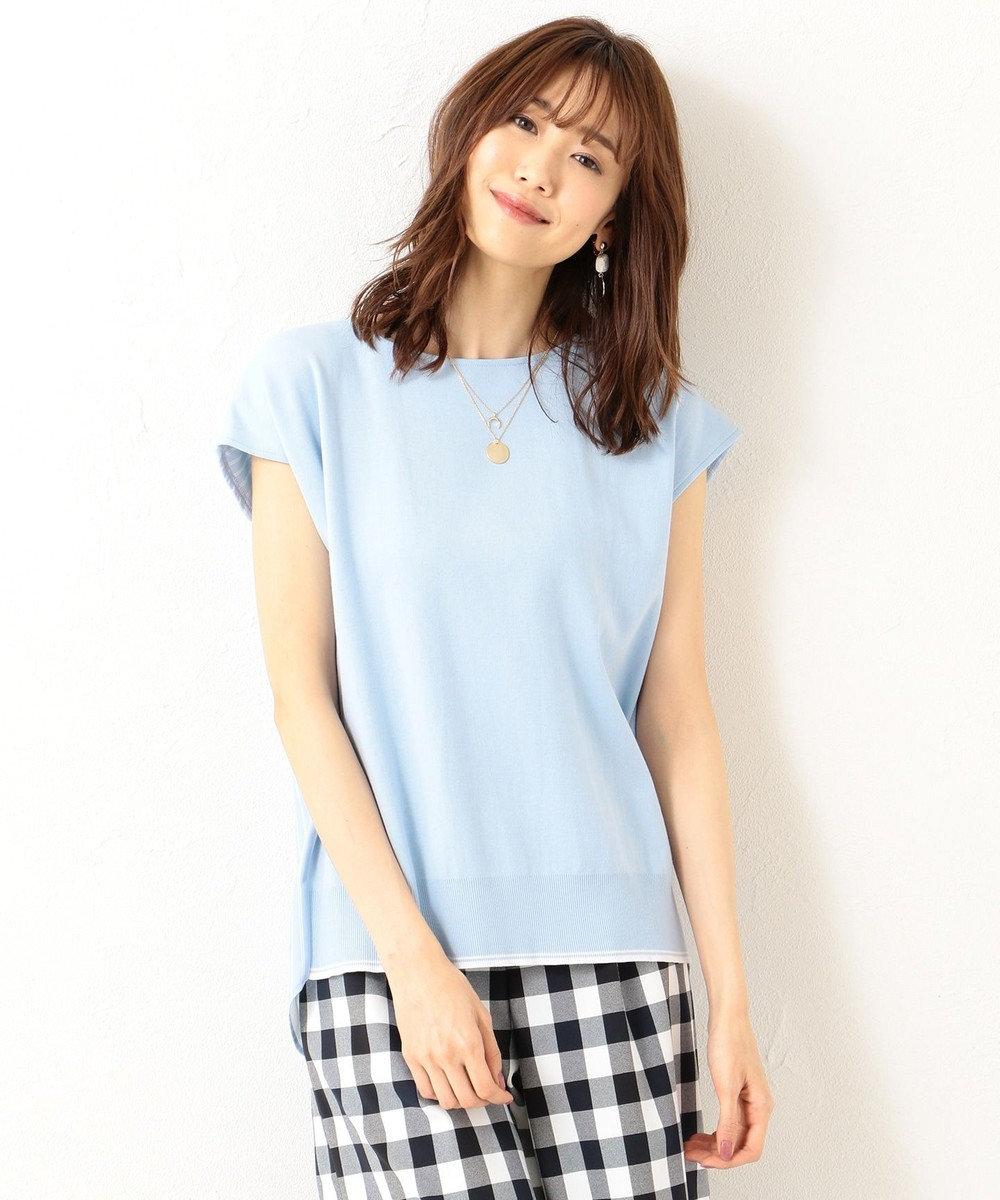 組曲 【WEB限定色あり】 リブコンビポンチ カットソー サックスブルー系