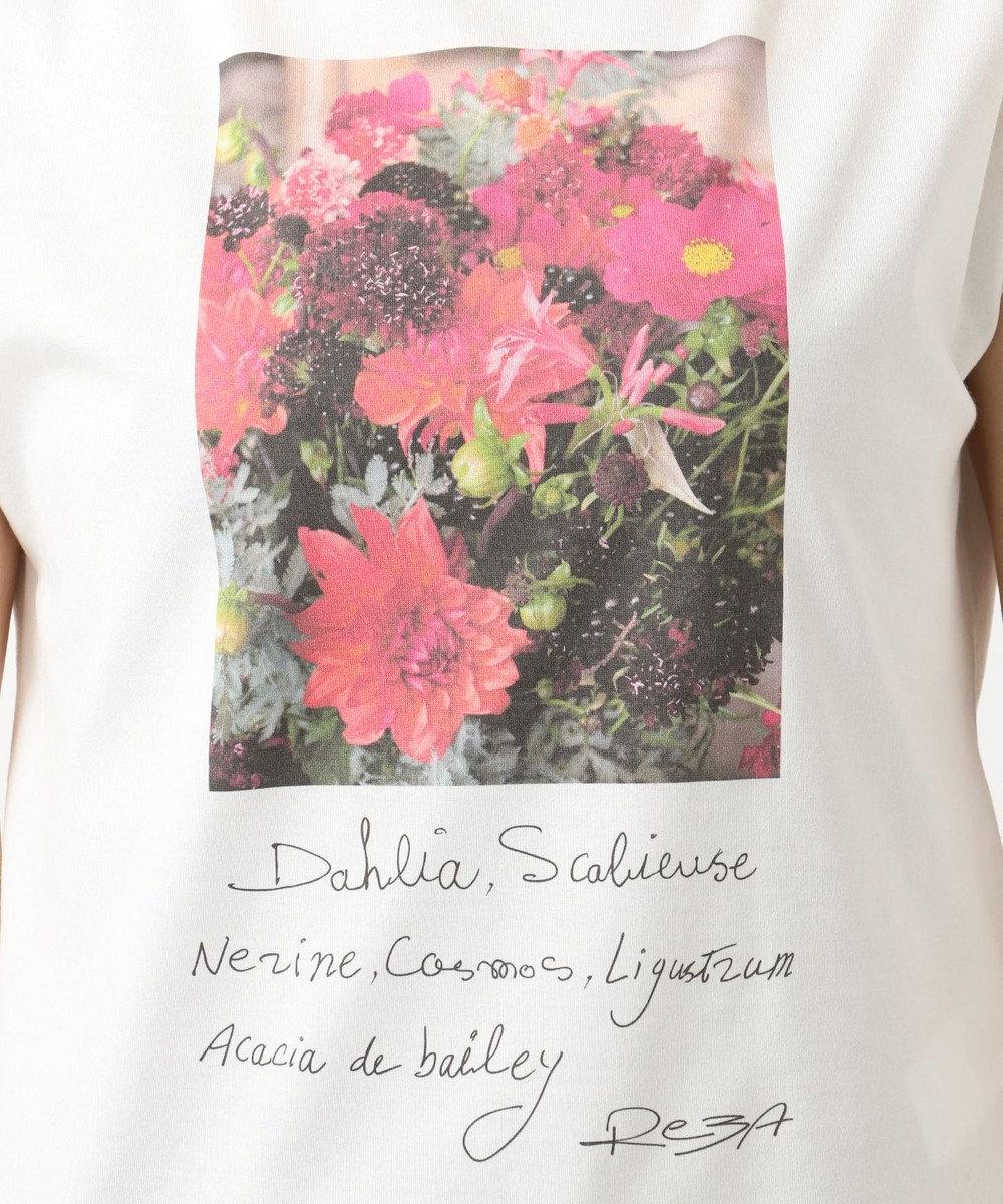 組曲 【洗える】L'artisan Fleuriste コラボ プリントTシャツ ホワイト系