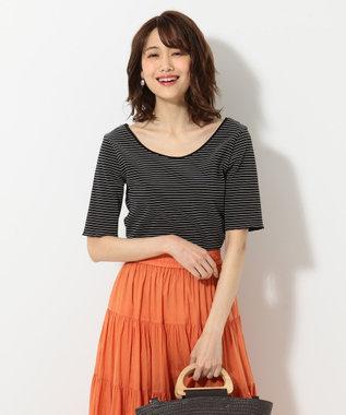 組曲 L 【洗える】シャイニーリップルボーダー カットソー ブラック系1