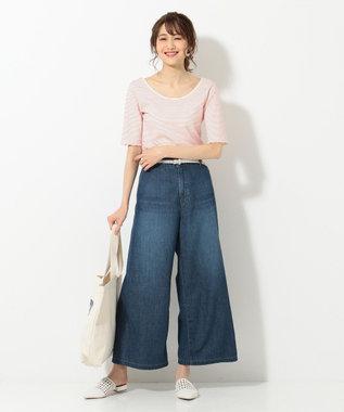 組曲 L 【洗える】シャイニーリップルボーダー カットソー レッド系1