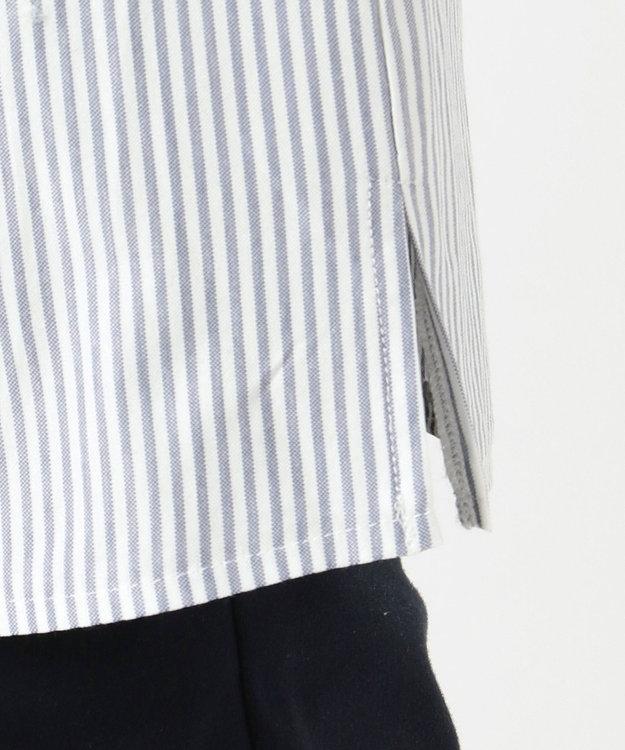 組曲 S 【洗える】ハイゲージストライプ袖レース カットソー