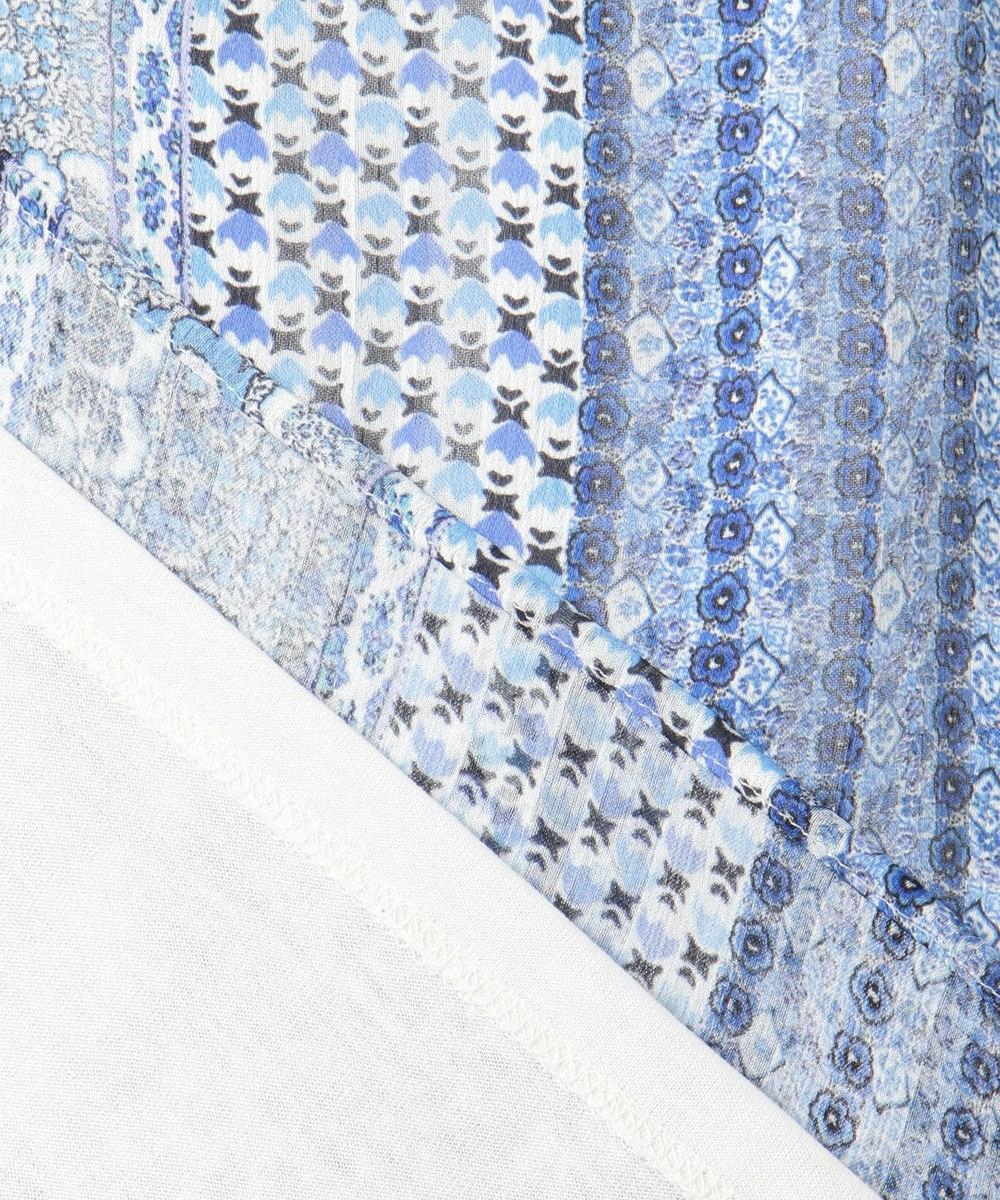 組曲 【洗える】シアークレープリブコンビ プリントカットソー ブルー系5