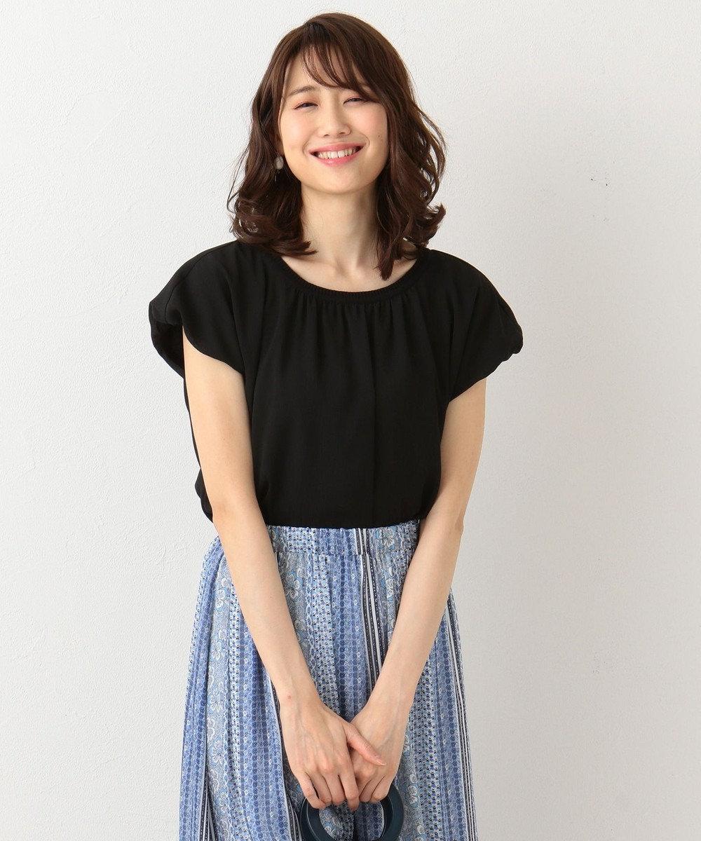 組曲 L 【洗える】シアークレープリブコンビ カットソー ブラック系