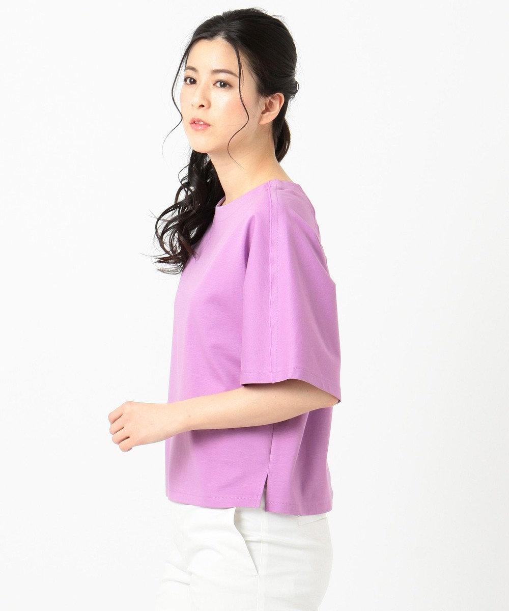 組曲 L 【洗える】コンパクトスーピマポンチ カットソー ふじ色系