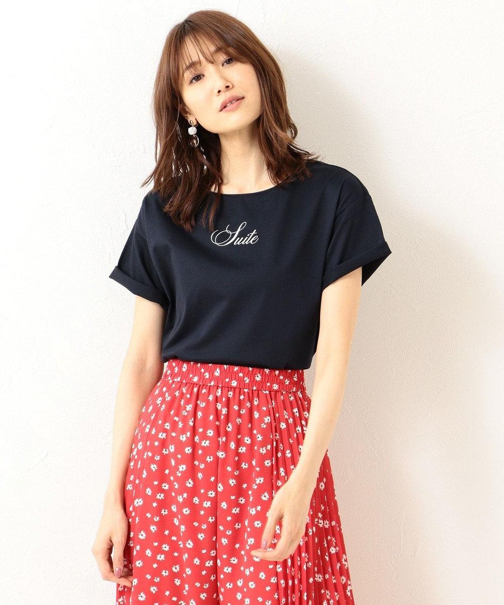 組曲 【洗える】コンパクトコットン天竺 シンプルロゴTシャツ ネイビー系