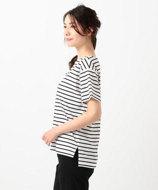 組曲 【洗える】コンパクトコットン天竺 シンプルロゴTシャツ ホワイト系