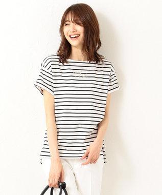 組曲 【洗える】コンパクトコットン天竺 シンプルロゴTシャツ ホワイト系1