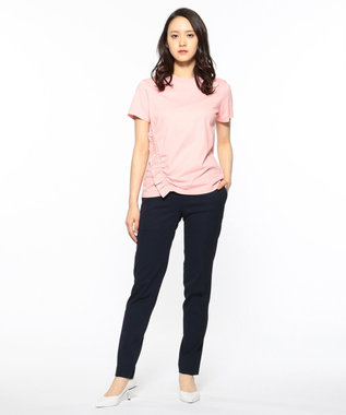 CK CALVIN KLEIN WOMEN 【2019SS インポート企画】ソフトジャージーシャーリング使い Tシャツ ワイン系