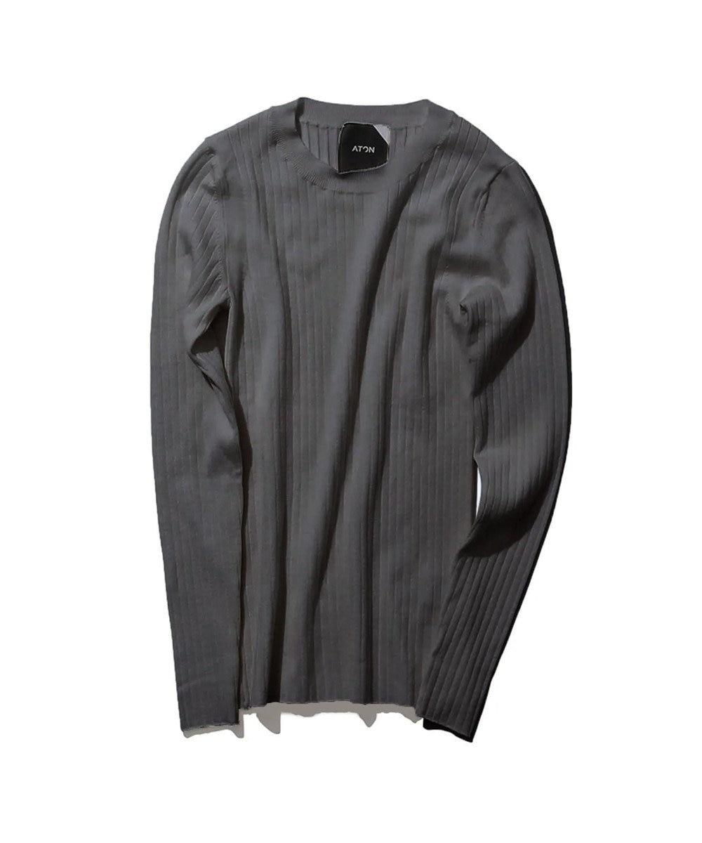 ATON 【WEB LIMITED】SLOW WOOL / リブクルーネックセーター CHARCOAL GRAY