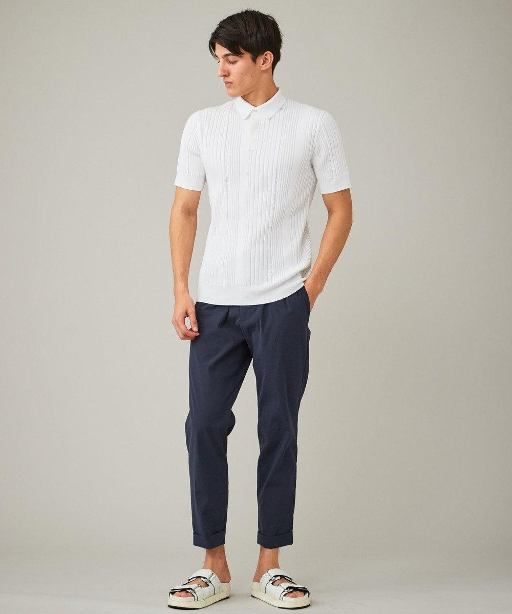 CK CALVIN KLEIN MEN 【洗える】グラデーションメッシュリブ ニット ポロシャツ ホワイト系