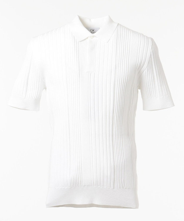 CK CALVIN KLEIN MEN 【洗える】グラデーションメッシュリブ ニット ポロシャツ