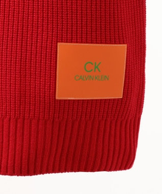 CK CALVIN KLEIN MEN 【Safari掲載】ウールナイロンロゴパッチ ニット レッド系