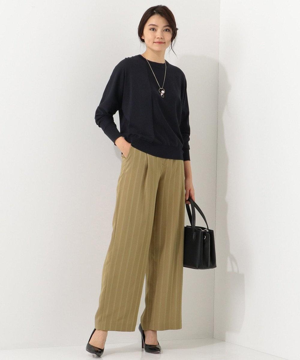 ICB L 【洗える】Hi Twist Silk Cotton クルーネック ニット ネイビー系