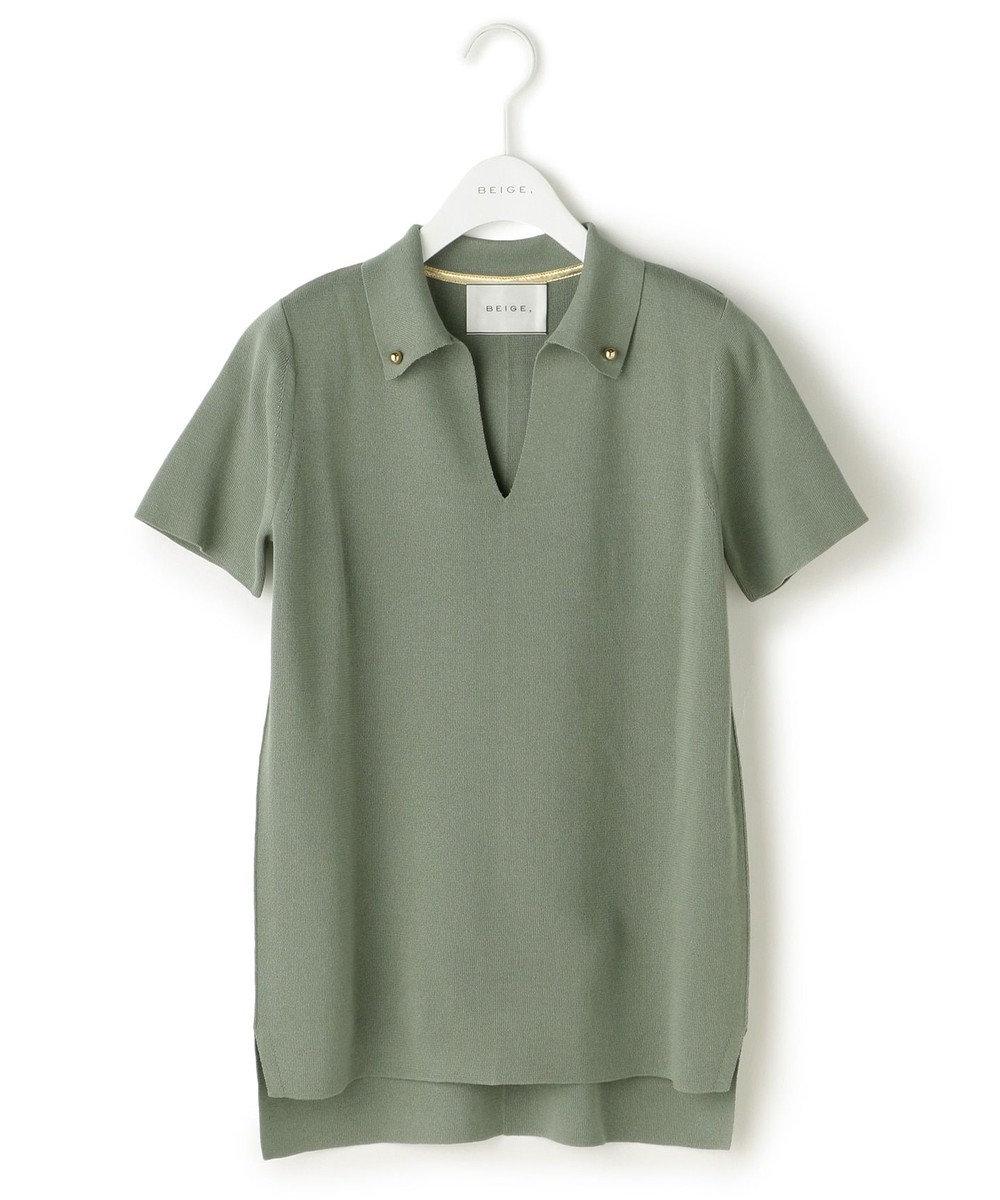 BEIGE, INVER / ニットポロシャツ スモーキーグリーン系